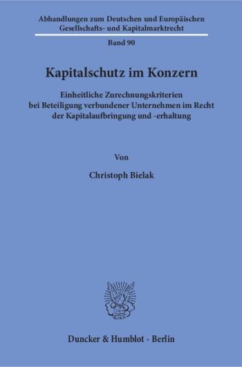 Cover: Kapitalschutz im Konzern