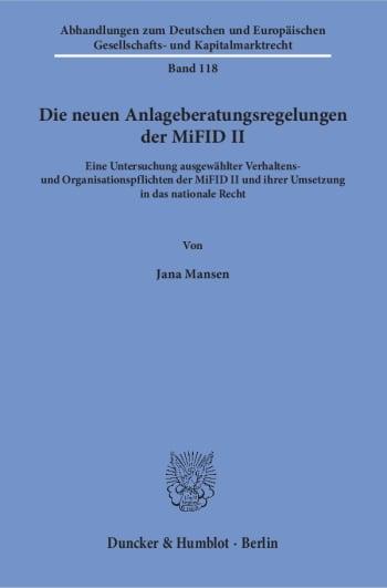 Cover: Die neuen Anlageberatungsregelungen der MiFID II