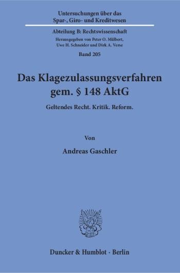 Cover: Das Klagezulassungsverfahren gem. § 148 AktG