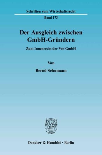 Cover: Der Ausgleich zwischen GmbH-Gründern