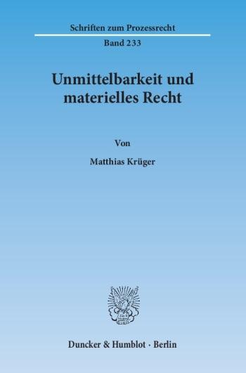 Cover: Unmittelbarkeit und materielles Recht