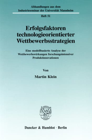 Cover: Erfolgsfaktoren technologieorientierter Wettbewerbsstrategien