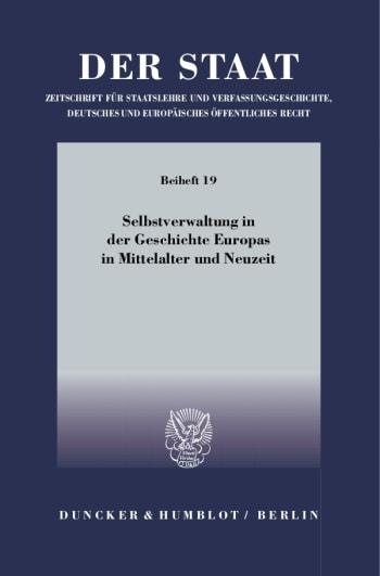 Cover: Selbstverwaltung in der Geschichte Europas in Mittelalter und Neuzeit