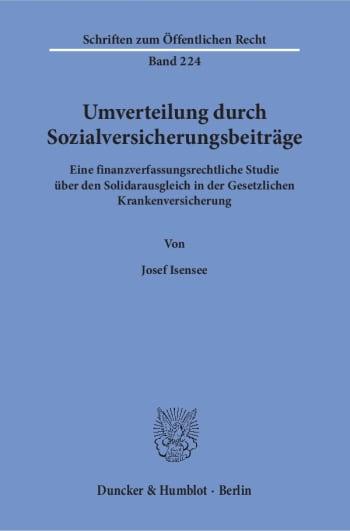 Cover: Umverteilung durch Sozialversicherungsbeiträge
