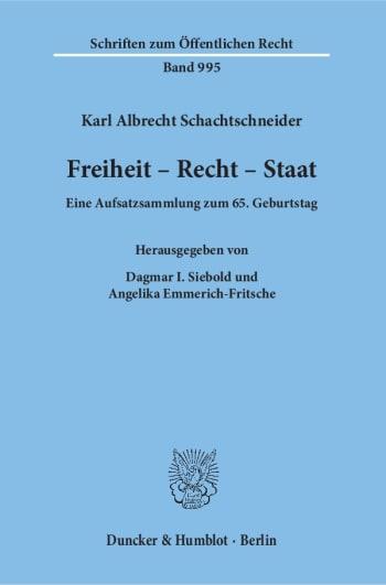 Cover: Freiheit - Recht - Staat