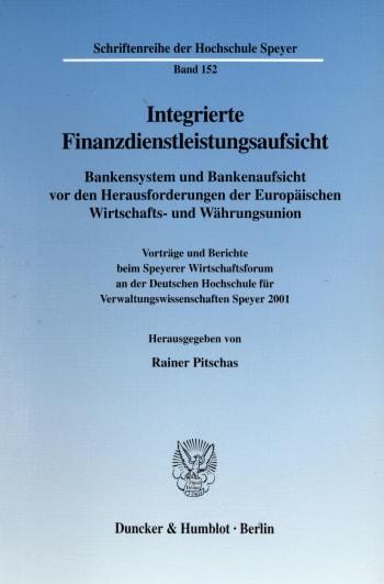 Cover: Integrierte Finanzdienstleistungsaufsicht