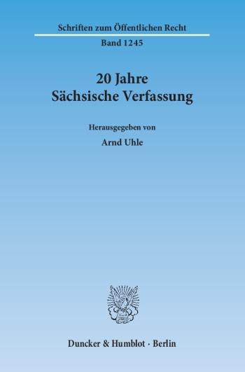 Cover: 20 Jahre Sächsische Verfassung
