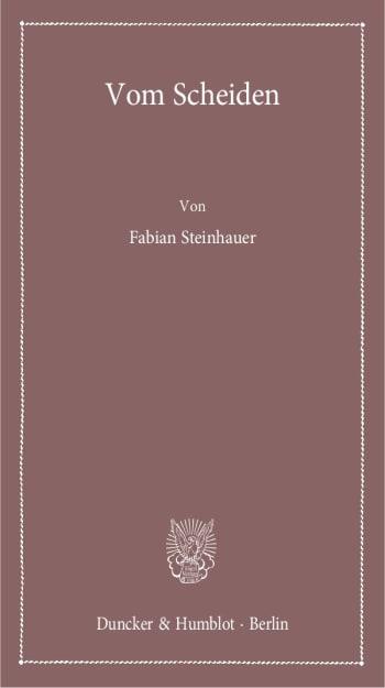 Cover: Vom Scheiden