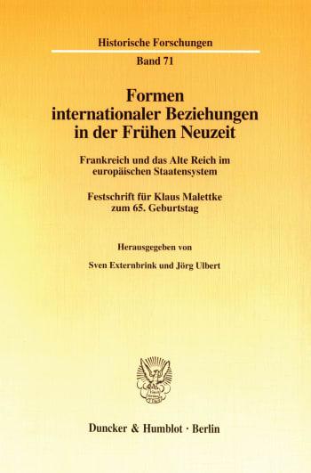 Cover: Formen internationaler Beziehungen in der Frühen Neuzeit