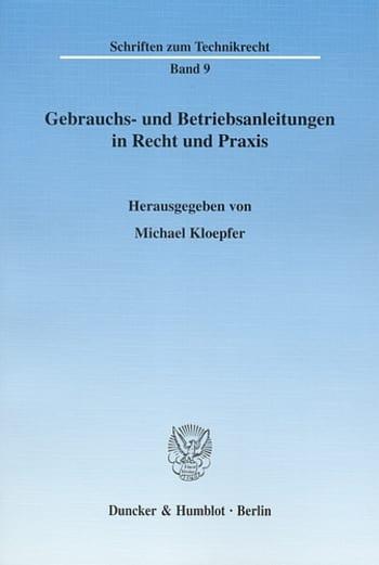 Cover: Gebrauchs- und Betriebsanleitungen in Recht und Praxis