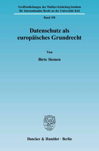 Cover: Datenschutz als europäisches Grundrecht