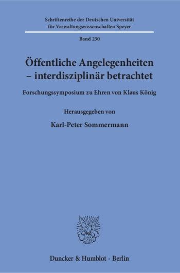 Cover: Öffentliche Angelegenheiten – interdisziplinär betrachtet