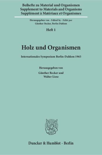 Cover: Material und Organismen. Beihefte (BH MO)