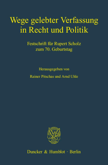 Cover: Wege gelebter Verfassung in Recht und Politik