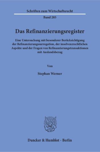 Cover: Das Refinanzierungsregister