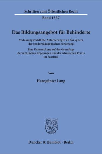 Cover: Das Bildungsangebot für Behinderte