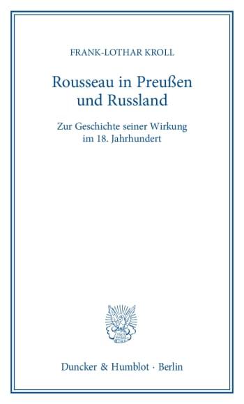 Cover: Rousseau in Preußen und Russland