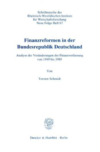 Cover: Finanzreformen in der Bundesrepublik Deutschland