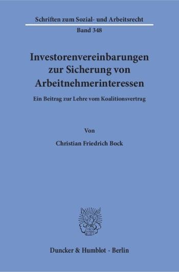 Cover: Investorenvereinbarungen zur Sicherung von Arbeitnehmerinteressen