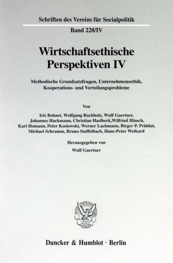 Cover: Wirtschaftsethische Perspektiven IV