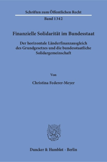 Cover: Finanzielle Solidarität im Bundesstaat