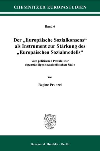 """Cover: Der """"Europäische Sozialkonsens"""" als Instrument zur Stärkung des """"Europäischen Sozialmodells"""""""