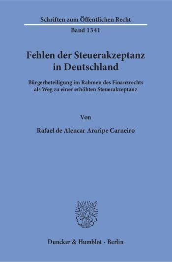 Cover: Fehlen der Steuerakzeptanz in Deutschland