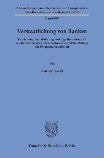 Cover: Verstaatlichung von Banken