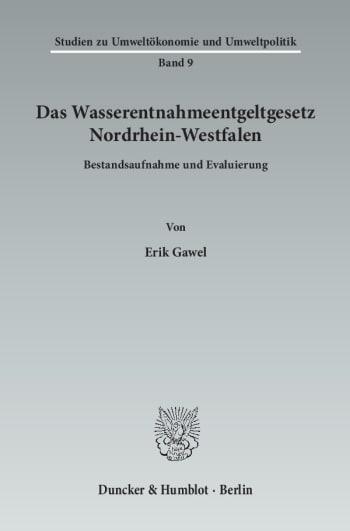 Cover: Das Wasserentnahmeentgeltgesetz Nordrhein-Westfalen