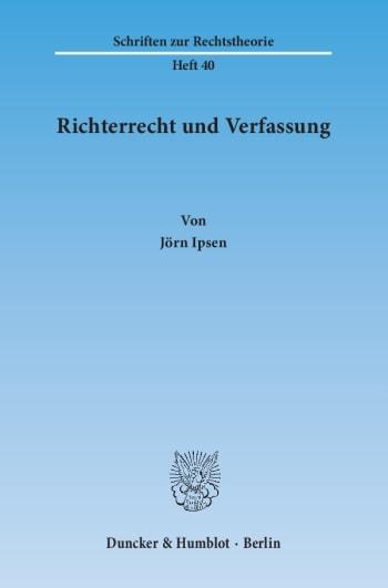 Cover: Richterrecht und Verfassung