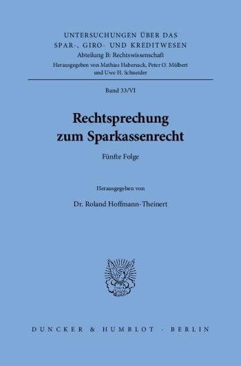 Cover: Rechtsprechung zum Sparkassenrecht