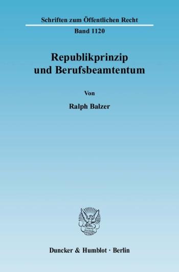 Cover: Republikprinzip und Berufsbeamtentum