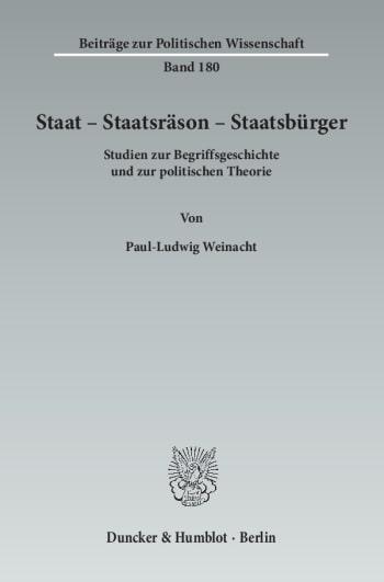 Cover: Staat – Staatsräson – Staatsbürger