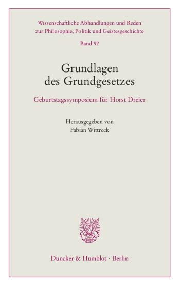Cover: Grundlagen des Grundgesetzes