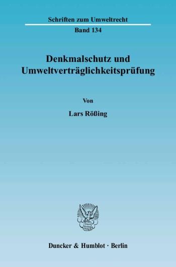 Cover: Denkmalschutz und Umweltverträglichkeitsprüfung