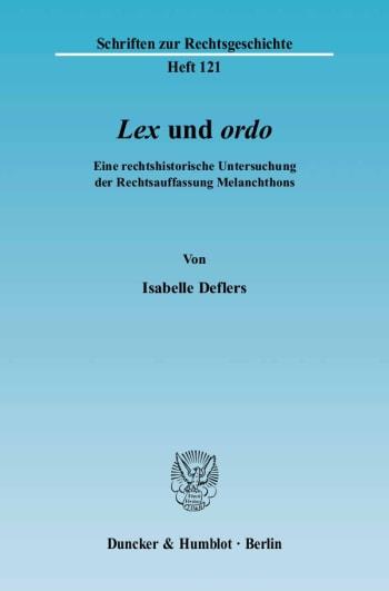 Cover: »Lex« und »ordo«