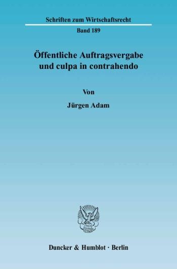Cover: Öffentliche Auftragsvergabe und culpa in contrahendo