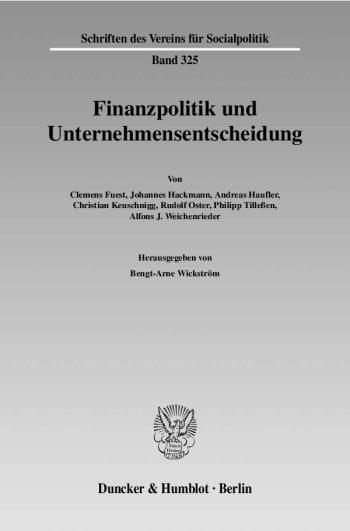 Cover: Finanzpolitik und Unternehmensentscheidung