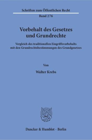 Cover: Vorbehalt des Gesetzes und Grundrechte