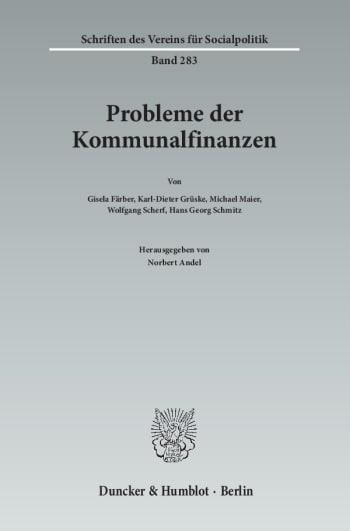 Cover: Probleme der Kommunalfinanzen