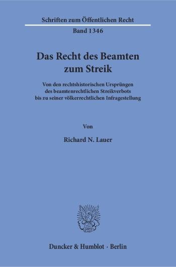 Cover: Das Recht des Beamten zum Streik