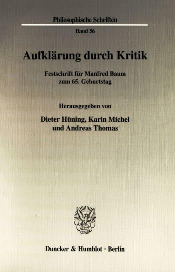 Cover: Aufklärung durch Kritik