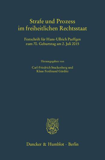 Cover: Strafe und Prozess im freiheitlichen Rechtsstaat