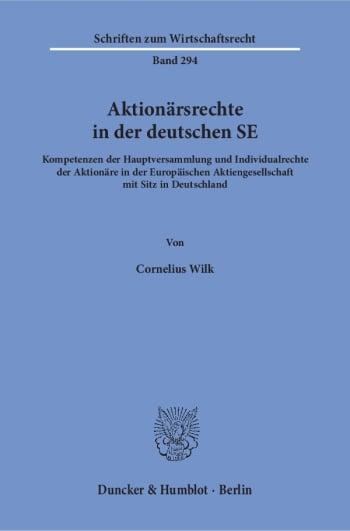 Cover: Aktionärsrechte in der deutschen SE