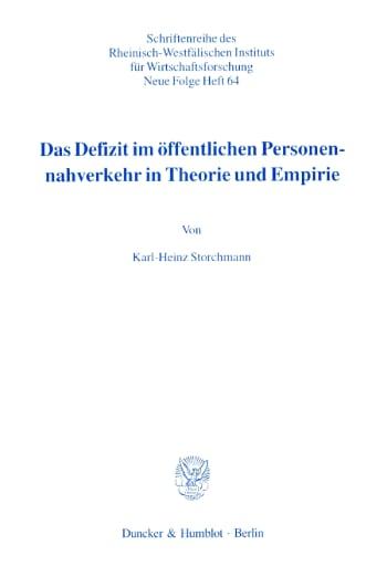 Cover: Das Defizit im öffentlichen Personennahverkehr in Theorie und Empirie