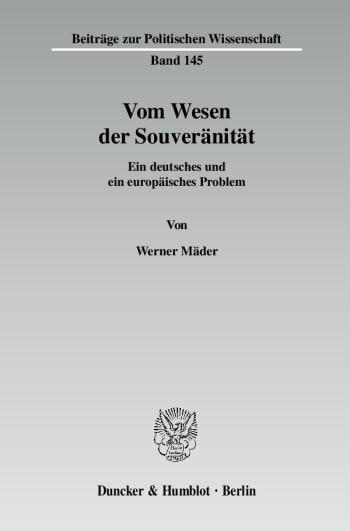 Cover: Vom Wesen der Souveränität