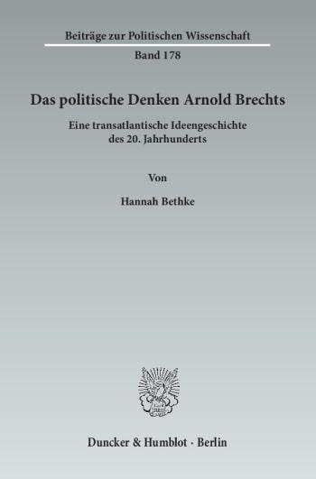 Cover: Das politische Denken Arnold Brechts