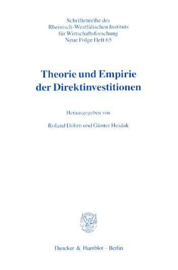 Cover: Theorie und Empirie der Direktinvestitionen