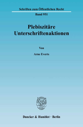 Cover: Plebiszitäre Unterschriftenaktionen
