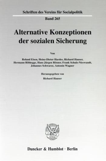 Cover: Alternative Konzeptionen der sozialen Sicherung